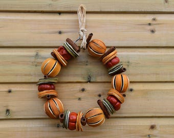 Dried fruit wreath, traditional wreath, door decoration, kitchen wall hanging, dried oranges, orange wreath, handmade wreath, interior decor