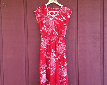 Vintage red floral midi sundress size 8