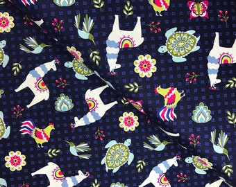 Llama Toss in Navy from the Juxtaposey Collection by Betz White for Riley Blake, Cotton Fabric, Choose Your Cut
