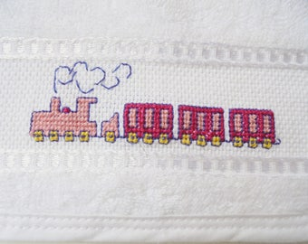newborn gift, Bath and Beauty, Baby and Child Care, Bibs and Burping, cross stitch, handmade, Cotton bib, Baby Shower gift, hand embroidered