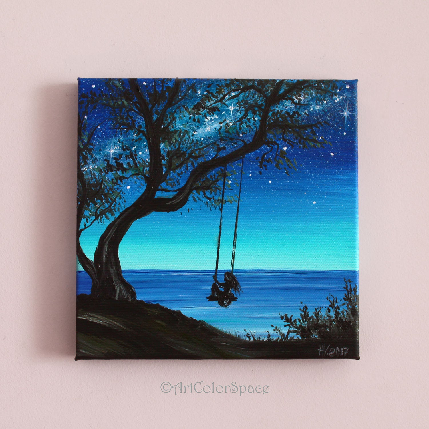 Small Painting Girl On Tree Swing Art Summer Day Oil Painting