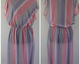 Vintage 70s Pastel Stripe Dress - 70s 80s Elastic Waist Midi Dress - Plus Size, XXL, 2X