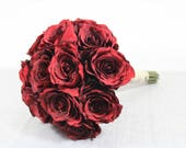Image of Beautiful Silk Faux Red Roses Brides Bridal Bouquet Flowers Wedding Flowers Bridesmaid Wedding Bouquet Set 1001