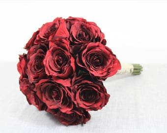Beautiful Silk Faux Red Roses - Brides Bridal Bouquet Flowers - Wedding Flowers - Bridesmaid Wedding Bouquet Set 1001