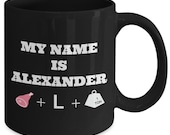 My Name Is ALEXANDER HAM+L+TON - Hamilton The Musical Coffee Mug - Broadway Fan Gift - 11 oz black coffee tea cup
