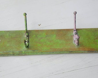 Lime green Shabby Chic distressed coat hooks