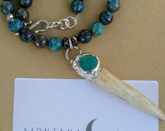 Genuine Brown Green Turquoise Choker with Soldered Antler Tip Pendant