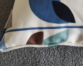 Beautiful Leaf fabric piped cushion cover with zip