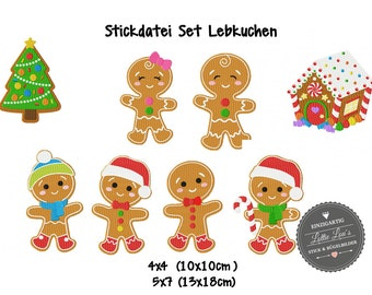 Embroidery design embroidery file set gingerbread Christmas Christmas