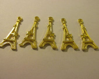 "Paris Eiffel Tower Gold Tone Metal Charms, 1 1/8"", Set of 5"