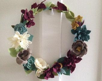 Felt Flower Wreath // Wreath//  Floral Wreath // Wedding Wreath // Spring Wreath