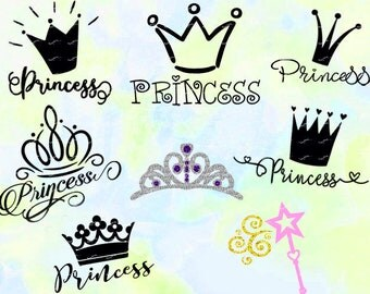 Crown Princess svg, dxf, eps, studio v3, png, cdr, file for Silhouette Cameo, Curio, Cricut, cut file for cutting machines, instant download