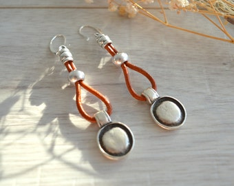925 Silver Coin Earrings, Genuine Leather Earrings, Free People style earrings, dangle earrings, boho summer earrings, silver coin earrings