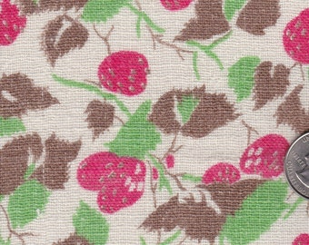Mid Century Feedsack Fabric Cotton Quilt Cloth Novelty Crafting Material Strawberries