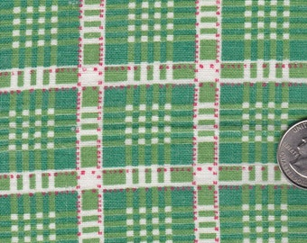Vintage Feedsack Fabric Cloth Material Printed Plaid Cotton 1950s