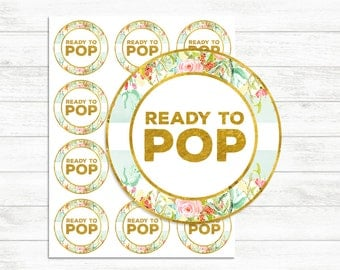 Printable Ready to pop stickers Mint and Gold, Ready to pop tags, Label, INSTANT DOWNLOAD, printable Stickers, Floral Gold Baby shower Girl