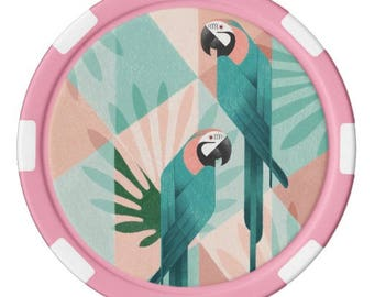 Pink Parrot Poker Chip