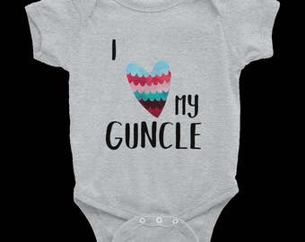 I LOVE MY GUNCLE or guncles Baby Bodysuit Gay Uncle Snap Shirt Tee Top