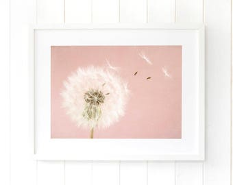 Pastel pink wall art, dandelion seed art, Make a wish dandelion seeds, dandelions wall decor nursery decor, art print artwork home decor