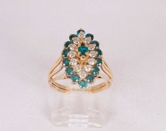 14K Yellow Gold Emerald and Diamond Cluster Ring, 6.3 grams, size 8.5