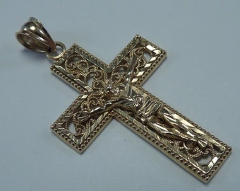 14K Yellow Gold Filigree Crucifix