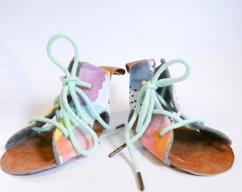 Soft Sole Baby/Toddler Sandals Shoes | Watercolor Print | Leather Sole | Lace Up