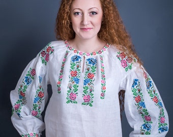 Beautiful white linen vyshyvanka, embroidered blouse, white linen clothing, ukrainian traditional blouse. Ethnic embroidery, Free Shipping