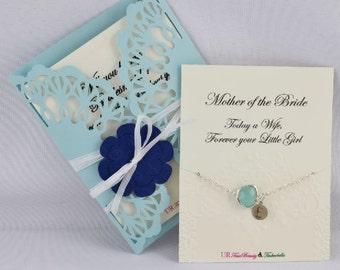 Mother of the Bride bracelet and card, Bridesmaid bracelet, Maid of Honor bracelet, Flower girl bracelet, Cubic Zirconia bracelet, CZ