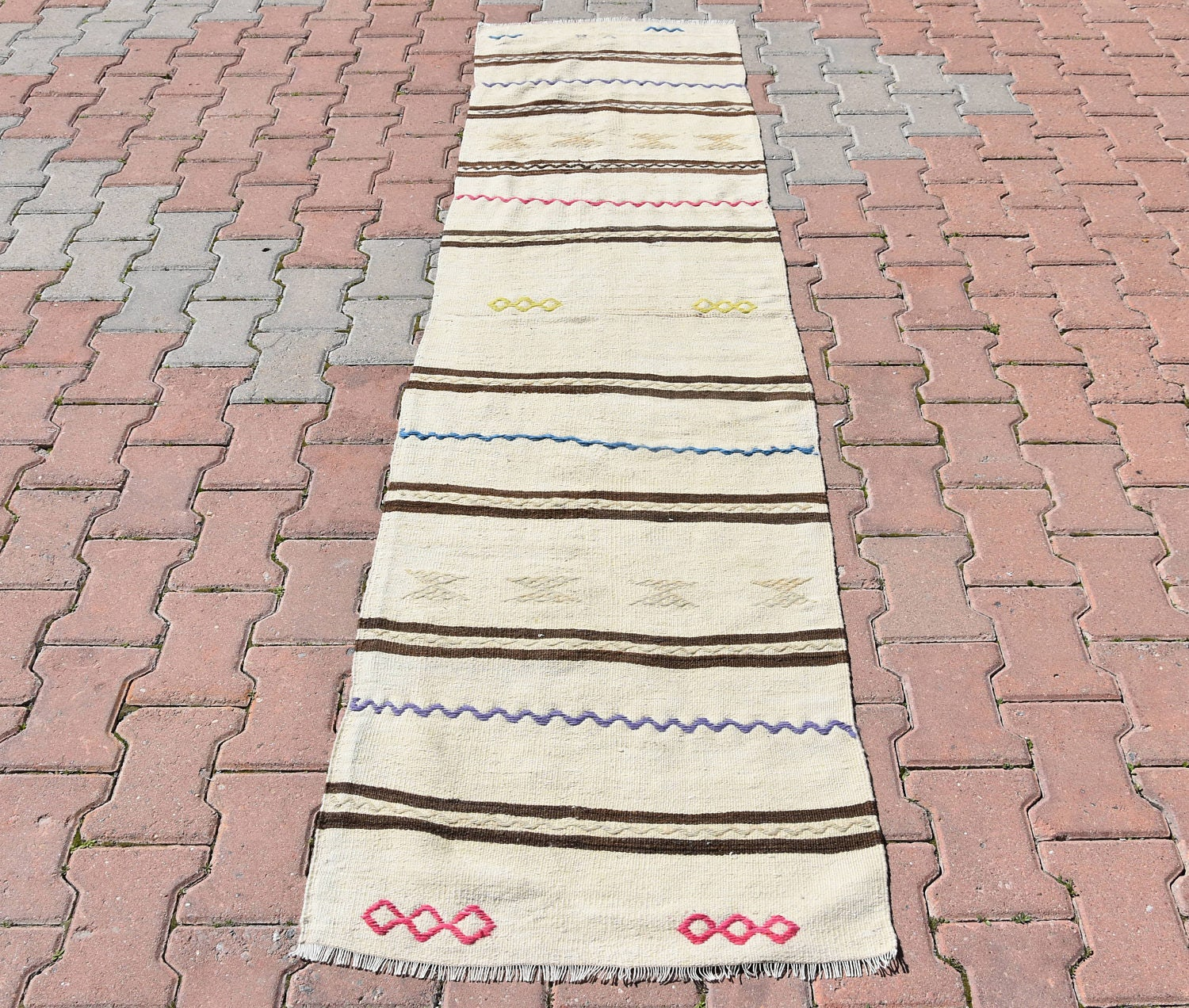 Striped Runner Hand Woven Cream Kilim Runner Rug Hallway