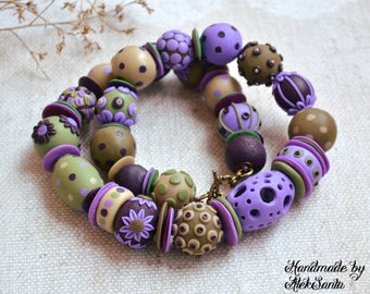 Lilac necklace Beaded necklace Floral jewelry Polka dot necklace Unique jewelry Unusual necklace Polymer clay jewelry for women Gift for her