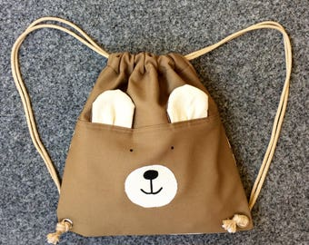 Bear Mini.Re.Pack. backpack, Recycled backpack, upcycled bag, street backpack, drawstring backpack, kids pack