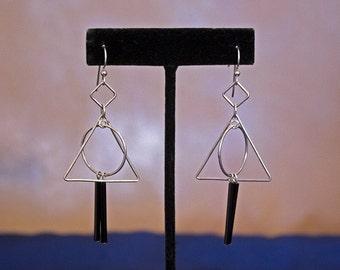 Sterling Silver Geometric Earrings, Big Silver Dangle Earrings