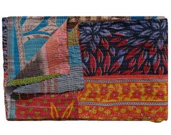 Reversible One of Kind ,Cotton Twin Size Kantha Quilt , Bed Spread  , Handmade Kantha Quilt,Bed Cover ,Tapestry #108