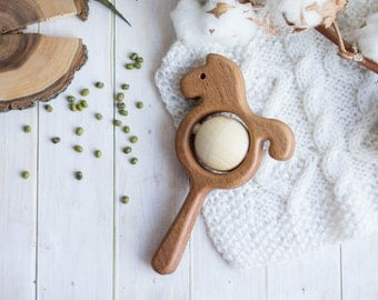 Traditional Wooden Rattle. Teething Toy. Natural Wooden Infant Toy. Eco Friendly Baby toy. Horse rattle.  Newborn gift.