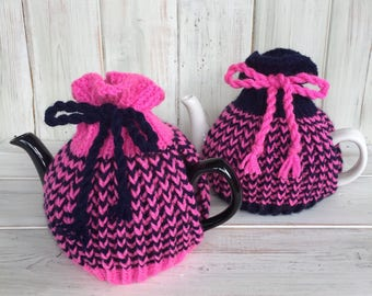 Hand Knitted Tea Cosy,Knitted Tea Cosy,Tea Cosy,One Cup Tea Cosy,Blue & Pink Tea Cosy,Handmade Tea Cosy,Handmade