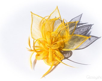 Yellow Sinamay Flower Feather Fascinator Clip