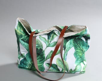 Canvas Tote Bag, Beach tote Bag, Casual Tote Bag, leaves Bag, Summer Tote bag, green leaves Bag, tropical tote bag, Lagut, Weekend tote Bag