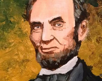 Abraham Lincoln miniature portrait - original