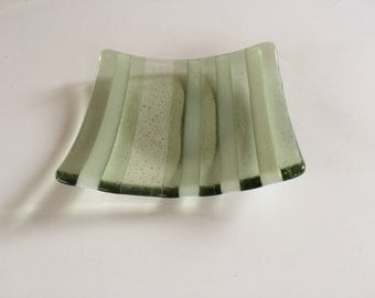 Striped olive green fused glass bowl