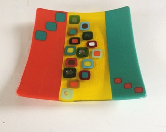 Large teal, orange and yellow fused glass plate