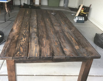 Farmhouse table,farm table, rustic table, dining table, distressed table, customizable