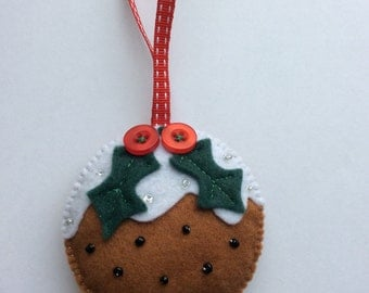 Felt Christmas Pudding tree decoration