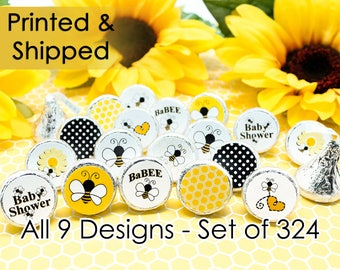 Bumble Bee Baby Shower Favor Decoration Stickers for Hershey Kisses, Envelope Seals, & Miniature Candies (Set of 324 stickers)