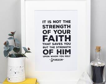 Spurgeon Christian Print | Gift for Him | Christian Decor | Monochrome Print