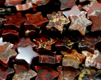 Natural Genuine Red BRECIATED Jasper Flat Star Shape Small Loose Jewelry Sets Beads  6mm 8mm 10mm 03081
