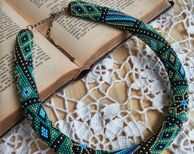 Green royal blue gold black patchwork print necklace statement casual unusual office geometric flower gift for her rope crochet embroidery