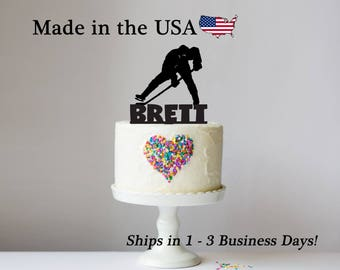Hockey, Cake Topper, Ice Hockey, Sports Theme, Boys Birthday Party, Tailgate Party, Personalized Keepsake, LT1109