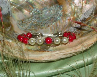Red & White Beaded Egyptian Wire Wrap Bracelet, 8.5 Inches