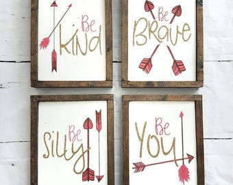 Be Kind gallery wall set   wood signs   glitter   arrows   painted   bedroom decor   home decor   rustic decor