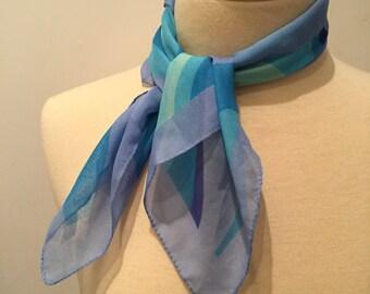 Italian Scarf - Polyester Scarf - Blue Swirl Design - Square Scarf